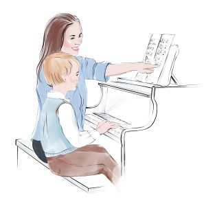 Piano practice with musical nanny